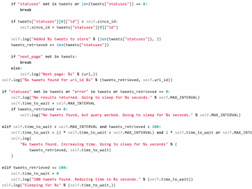 Image of code for the stream daemon