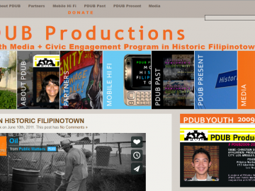 Logo for PDUB Productions, a youth media and civic engagement program in historic Filipinotown